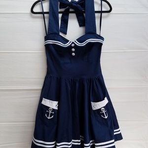 Hell Bunny Vixen Navy-Blue Sailor Dress